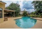 Backyard pool hot tub area